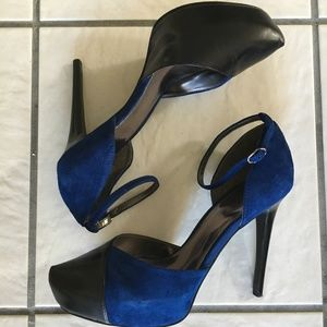 Carlos Royal Blue/ Black Suede Heels
